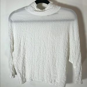 ZARA White Mid Sleeve Neck Tie Oversize Fit Small